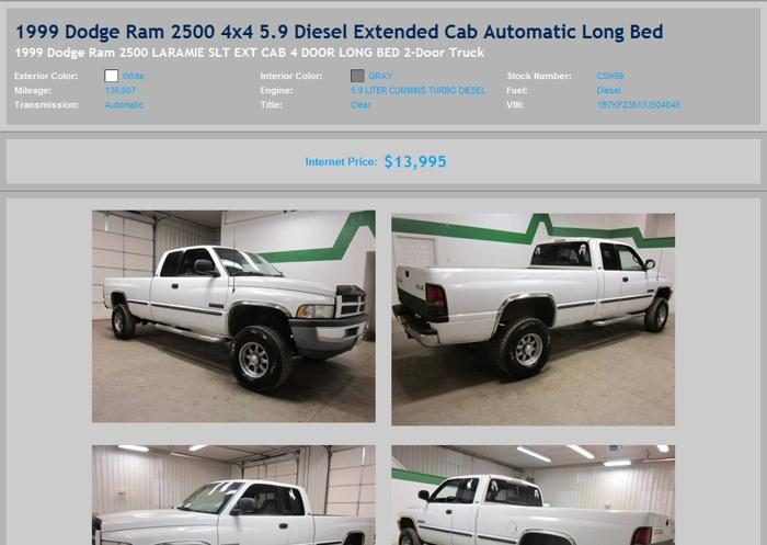 1999 Dodge Ram 2500 4x4 5 9 Diesel Extended Cab Automatic Long Bed For Sale In North Platte