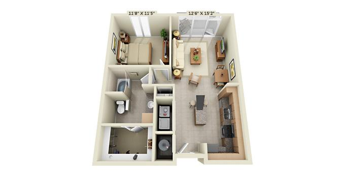 1br Fiori on Vitruvian Park® Apartment Community Model: One Bedroom A1B Ph. 877-702-9092
