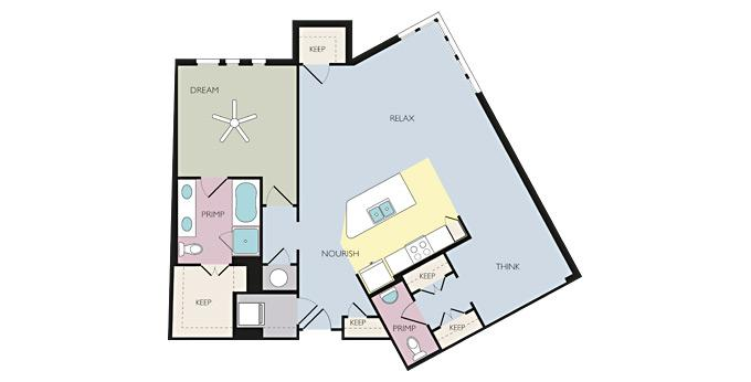 1br Savoye Apartment Community Model: Trust (A1.5D) Brand New Ph. 866-443-1761