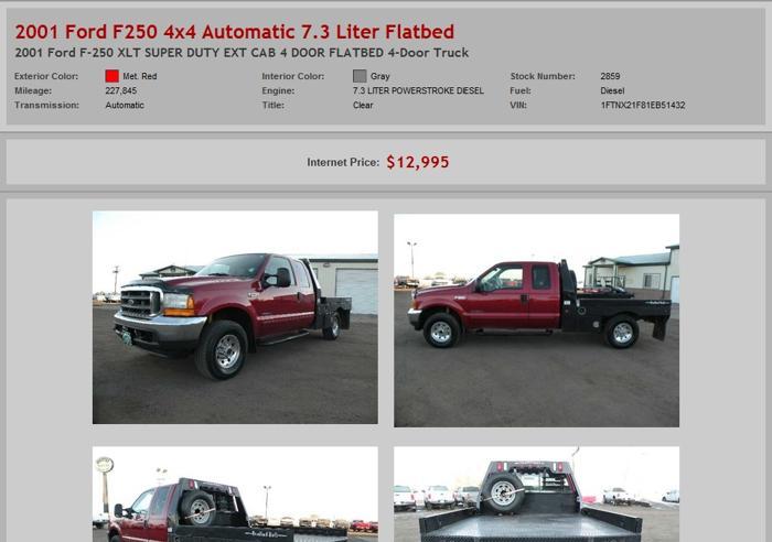 2001 Ford F250 4x4 Automatic 7 3 Liter Flatbed For Sale In