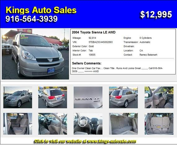 2004 Toyota Sienna LE AWD - Hurry In Today