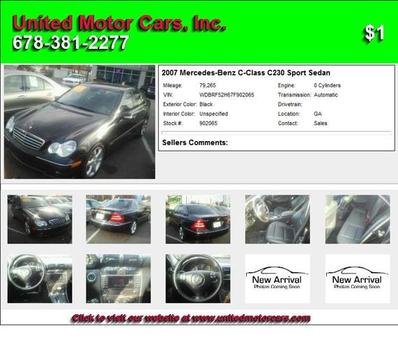 2007 Mercedes Benz C Class C230 Sport Sedan Call To