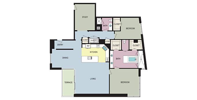 2br 1900 McKinney Apartment Community Model: Two Bedroom M Ph. 866-912-1531