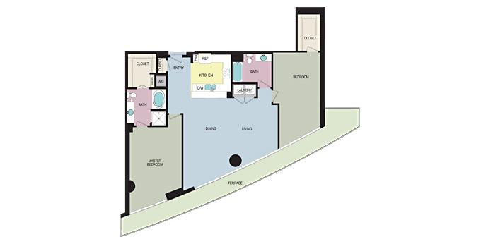 2br Cirque Apartment Community Model: Plan PH07 (P-B2D) Ph. 866-869-0858