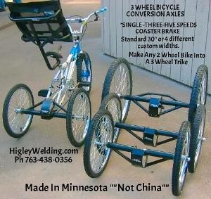 3 Wheel Bicycle Axle Conversion Kit - Custom Bikes.