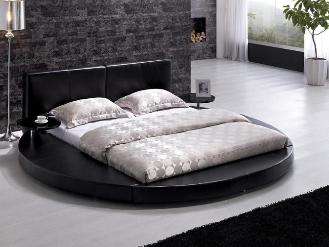 Cheap Modern Black Leather Headboard Round Bed Queen For