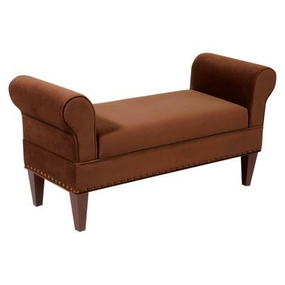 Georgetown rolled arm bench with lift top storage velvet for Belmont brown wicker patio chaise lounge