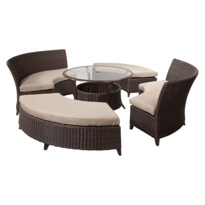Patio furniture set wicker tan 5 piece best deals for Best deals on patio furniture sets