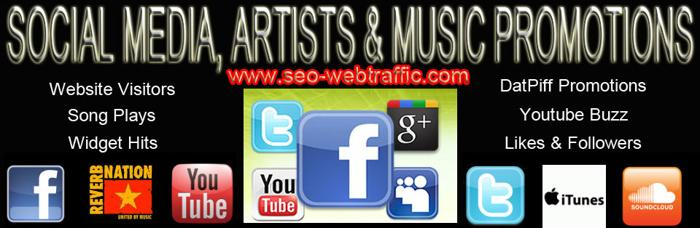 Buy Youtube video plays, Youtube, Twitter, Facebook, Pinterest, Instagram, Reverbnation, Datpiff