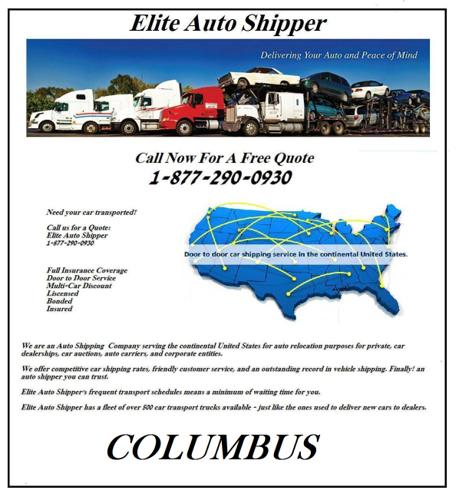 Columbus Auto Shipping and Vehicle Shipping - ($275+ Anywhere in the U.S.)