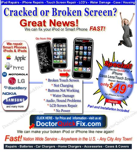 ** Cracked Cell Phone or iPod Screen? - Repair from $39.95 - AT&T, Verizon, HTC, T-mobile REPAIR * *