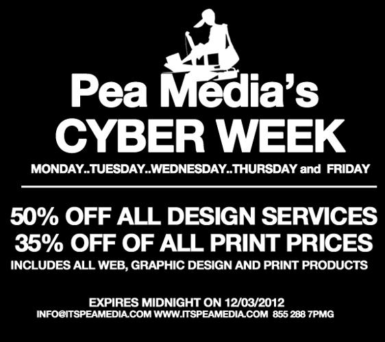 CYBER WEEK..50% off design, 35% off print, Free Shipping...logos cards flyers websites posters signs