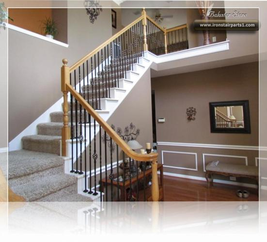 Decorative powder coated wrought iron balusters for stairs, balconies and more. SOLID AND HOLLOW
