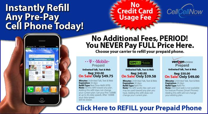 DISCOUNTS on PrePay Refill for any Pre Pay Cellphones or Wireless