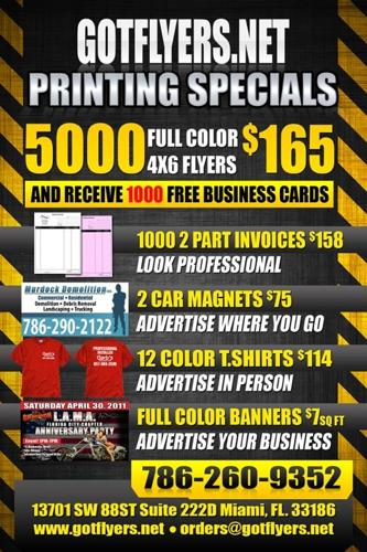 Downtown Miami Wholesale Full Color Printing 5000 4x6 Flyers For $165