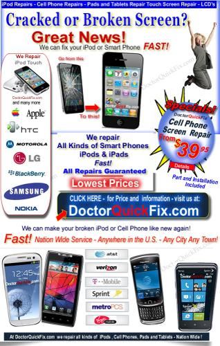 *Fast Repairs - Cracked or broken Cell Phone, iPad & tablet Screen ? from $49.95 - Nationwide* * *