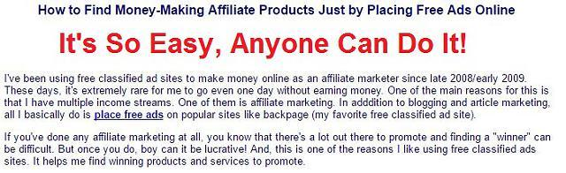 How to Find Money-Making Affiliate Products Just by Placing Free Ads Online