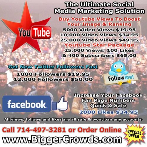 INCREASE Youtube Views, Twitter Followers, Facebook Likes by the Thousands Real & Safe
