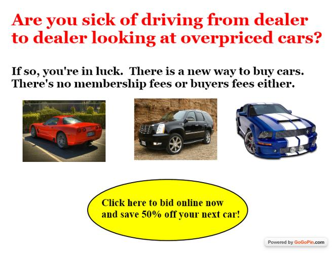 New awesome car auction is here! FREE to bid and buy! Save  cars trucks