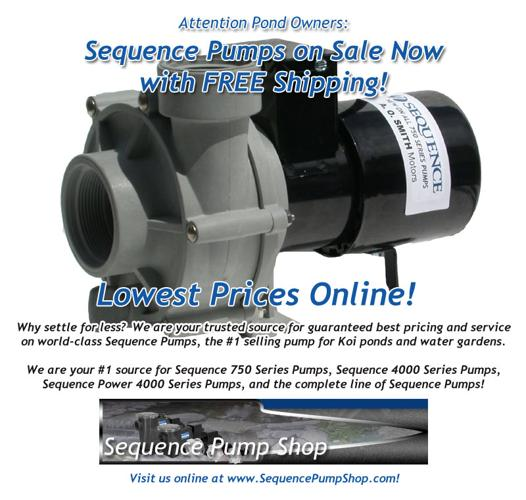 Sequence 750 pumps pond supplies lowest price for sale for Pond stuff for sale
