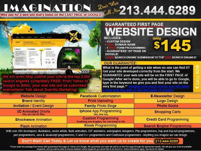 ? ? ??Web Design + GUARANTEED FIRST PAGE ON GOOGLE! 213-444-6289 Call Now !!