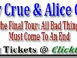 Motley Crue & Alice Cooper The Final Tour in Biloxi, Mississippi Mississippi Coast Coliseum, in Biloxi, on Wednesday, November 5, 2014 Motley Crue & Alice Cooper will arrive at The Mississippi Coast Coliseum for a concert in Biloxi, MS. The concert in